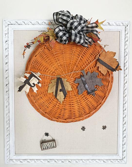 large pumpkin basket on bulletin board