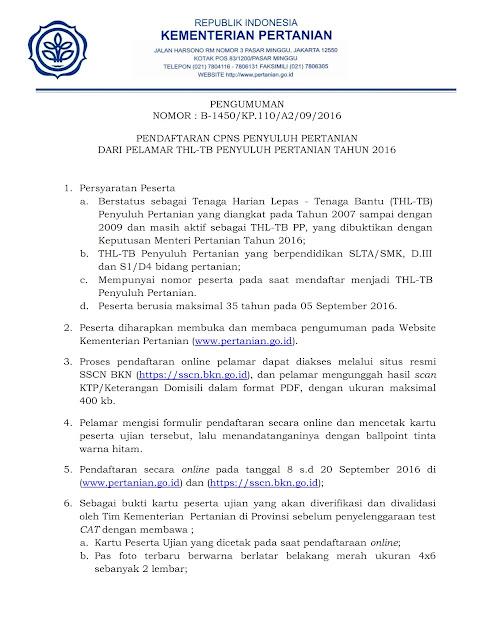 Seleksi CPNS 2016 - Penyuluh Pertanian