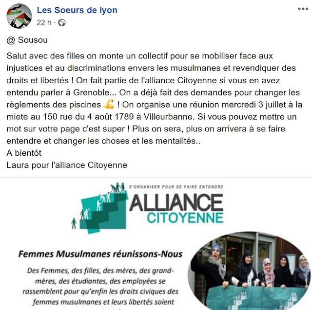 """Agglomération lyonnaise : la nouvelle cible d'""""Alliance avec les islamistes"""""""