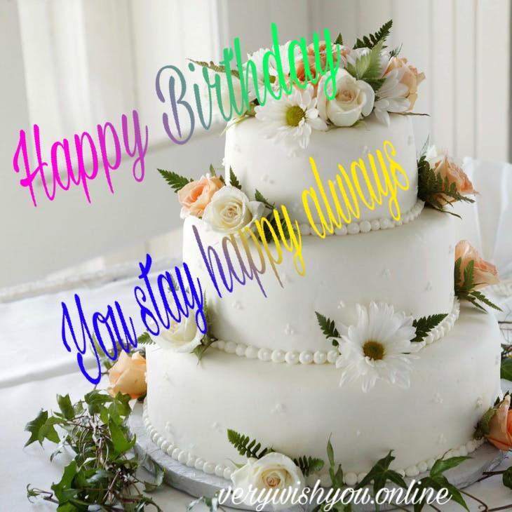 Happy birthday wishing image with cake