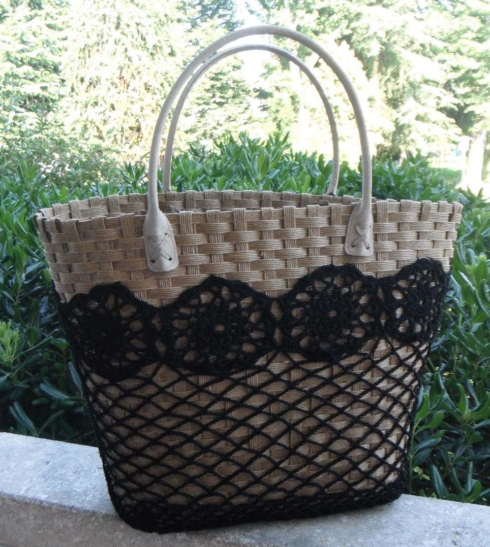 Borse Di Paglia Decorate Alluncinetto : Antichi ricami borsa con pizzo nero all uncinetto