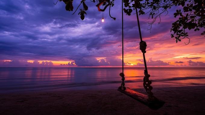 Balanço com Corda Pôr do Sol no Mar