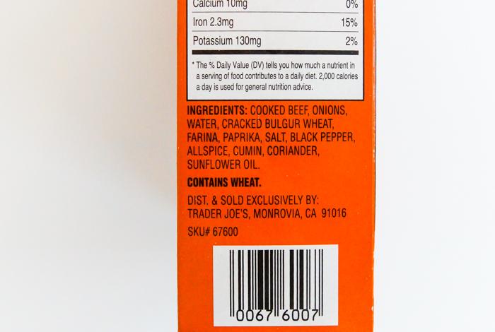 Trader Joe's Kibbeh ingredients