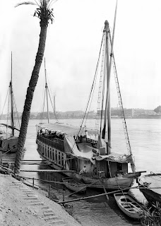 An Egyptian dahabiya, a wooden sailing vessel, circa 1890.