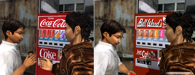 "The original Dreamcast release used genuine Coca Cola branding in Japan (left) and ""Bell Wood's"" branding for other versions (right)."