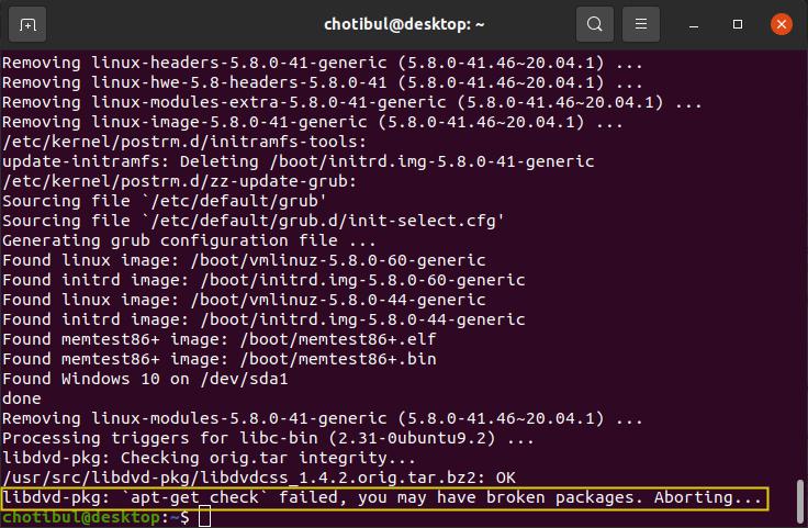 Galat libdvd-pkg: apt-get check failed di Ubuntu 20.04 LTS