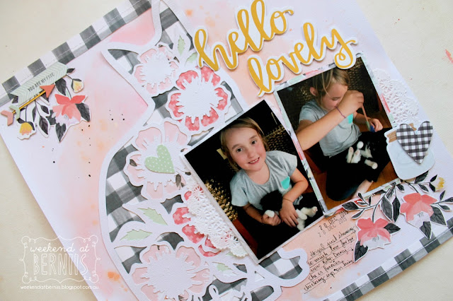""" Hello Lovely"" layout by Bernii Miller using the Hazelwood collection and a Neat N Crafty cut file."