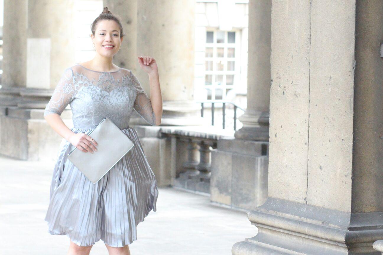 "Image of Eboni wearing the ""Hilary"" dress by Chi Chi London."