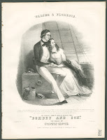 An illustration of a young man and woman seated and leaning into each other on the desk of a ship. They are identified by the caption as Walter and Florence, subjects of a Charles Dickens story.