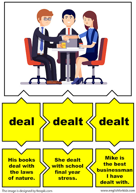 english irregular verbs flashcards, verb deal