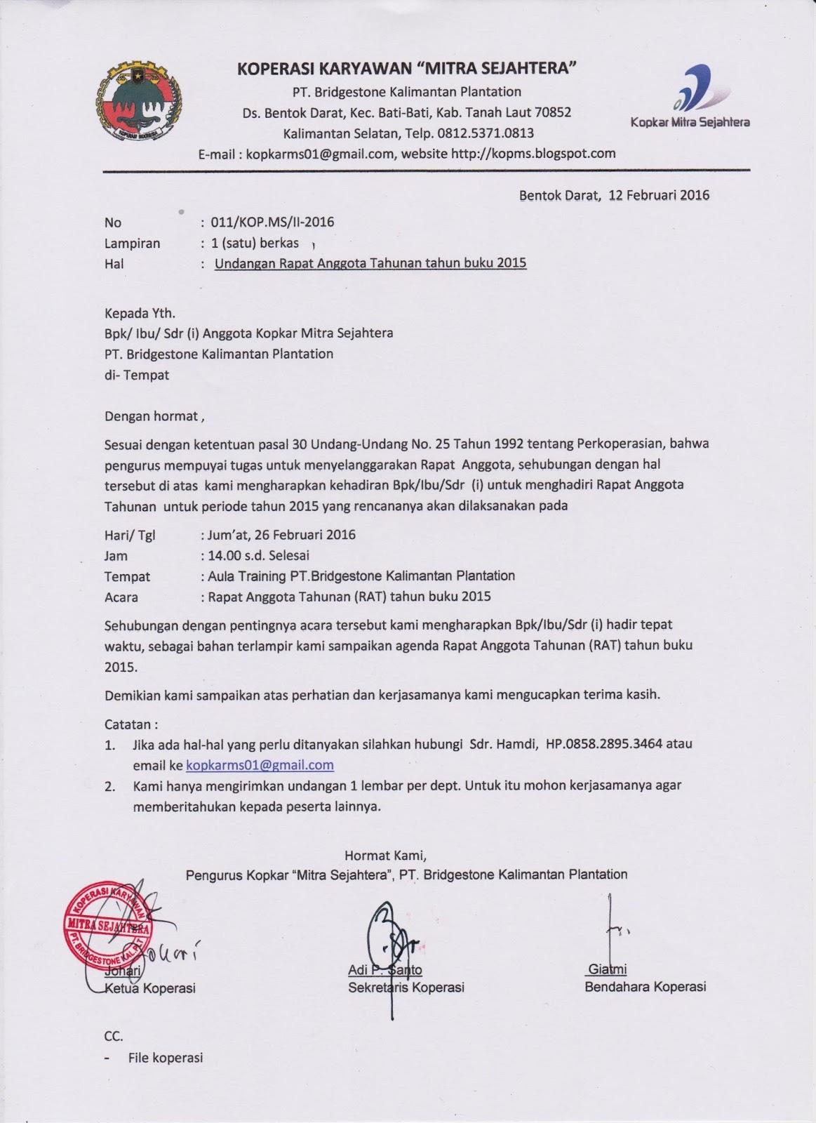 35+ Contoh surat berita acara rat koperasi terbaru terbaru