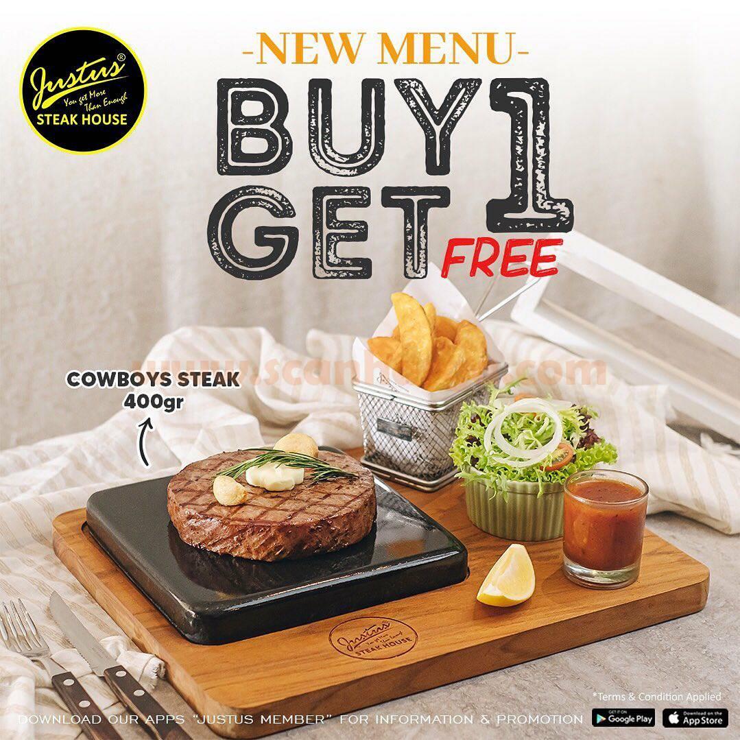 Promo New Menu Justus Steak House! Cowboys Steak BUY 1 GET 1 Free