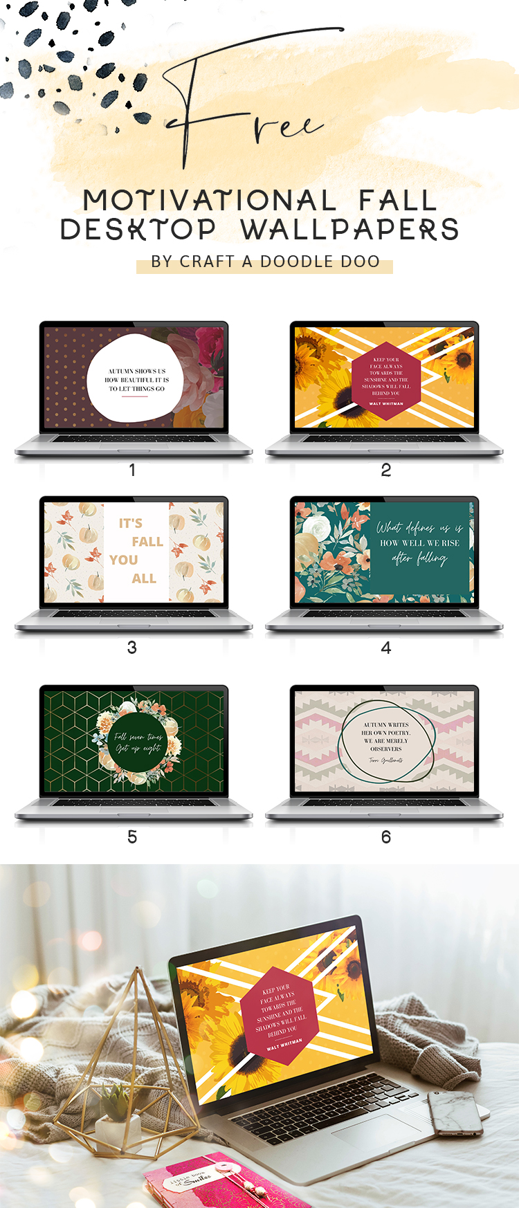 Free Fall/Autumn Desktop Motivational Wallpapers by Craft A Doodle Doo. 6 gorgeous fall quotes and autumnal themed backgrounds for your tablet and computer. Instant digital download. #fallwallpapers #fallprints #fallinspiration #autumnwallpapers #autumnstyle #fallquotes #inspirationalwallpapers