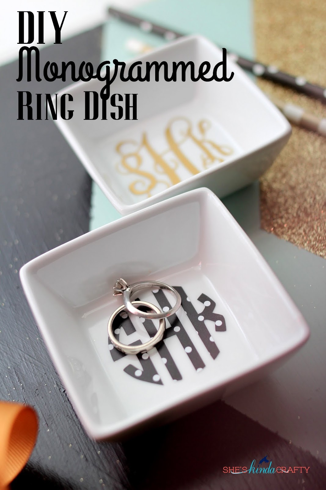 Diy Monogrammed Ring Dish Shes Kinda Crafty