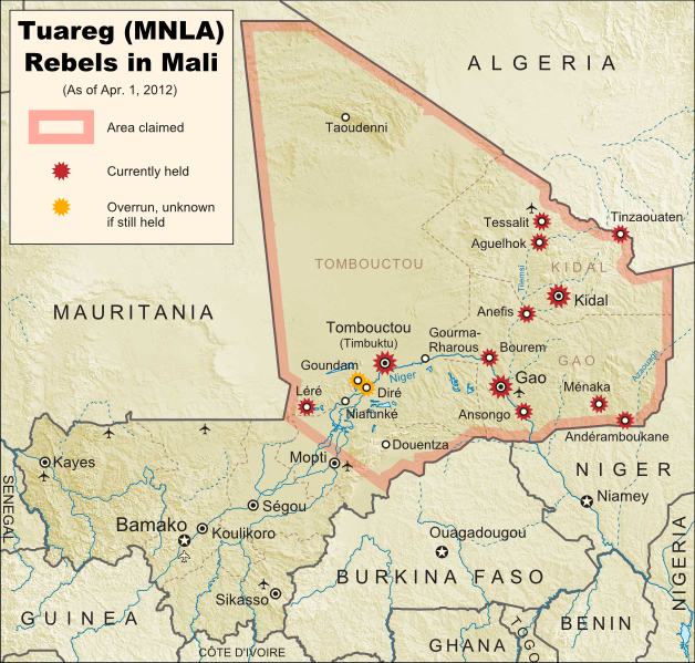Map of Tuareg rebellion in Northern Mali (Azawad), showing towns controlled by the MNLA rebel group as of April 1, 2012