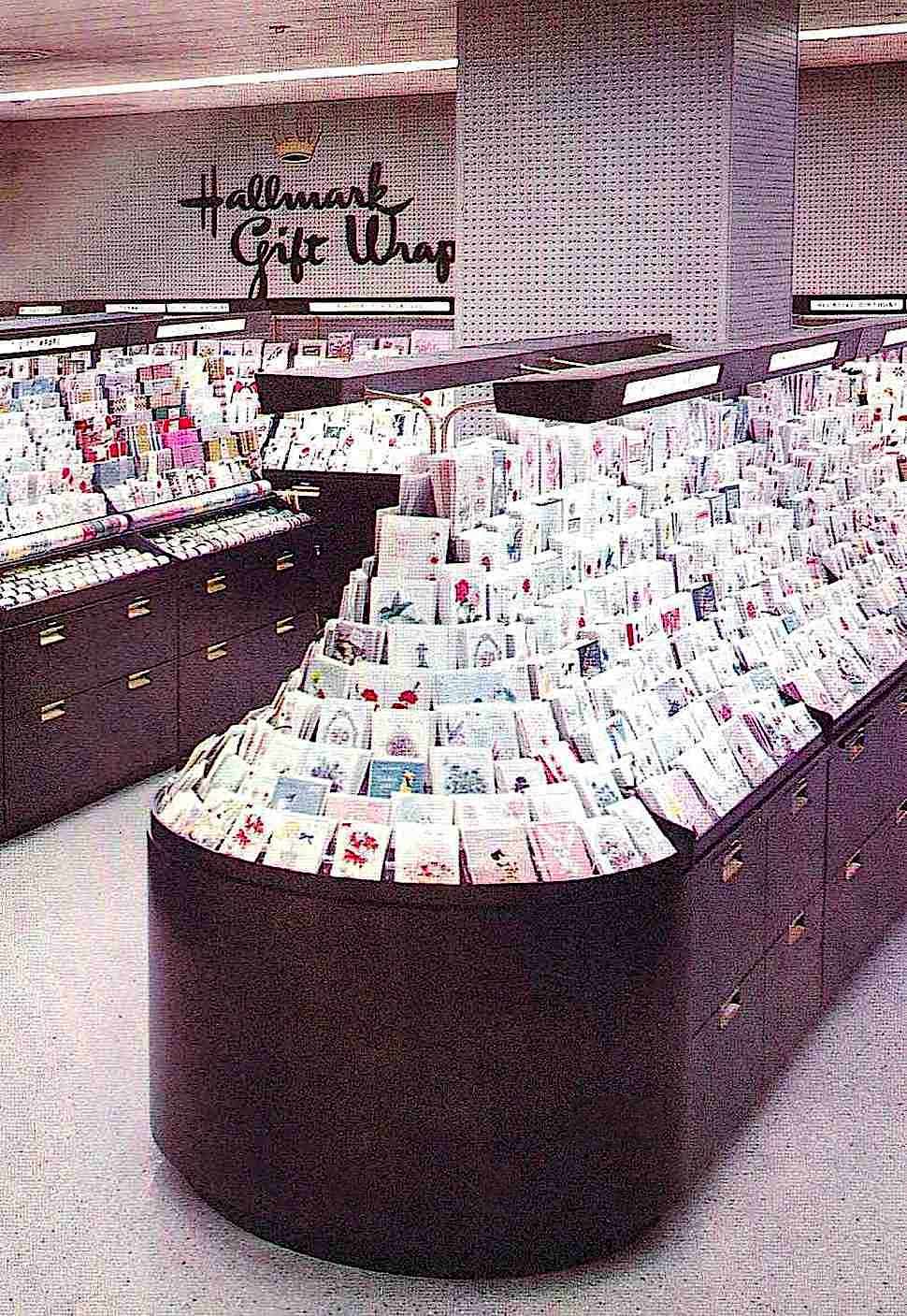 a Hallmark store 1958 showing aisle and island