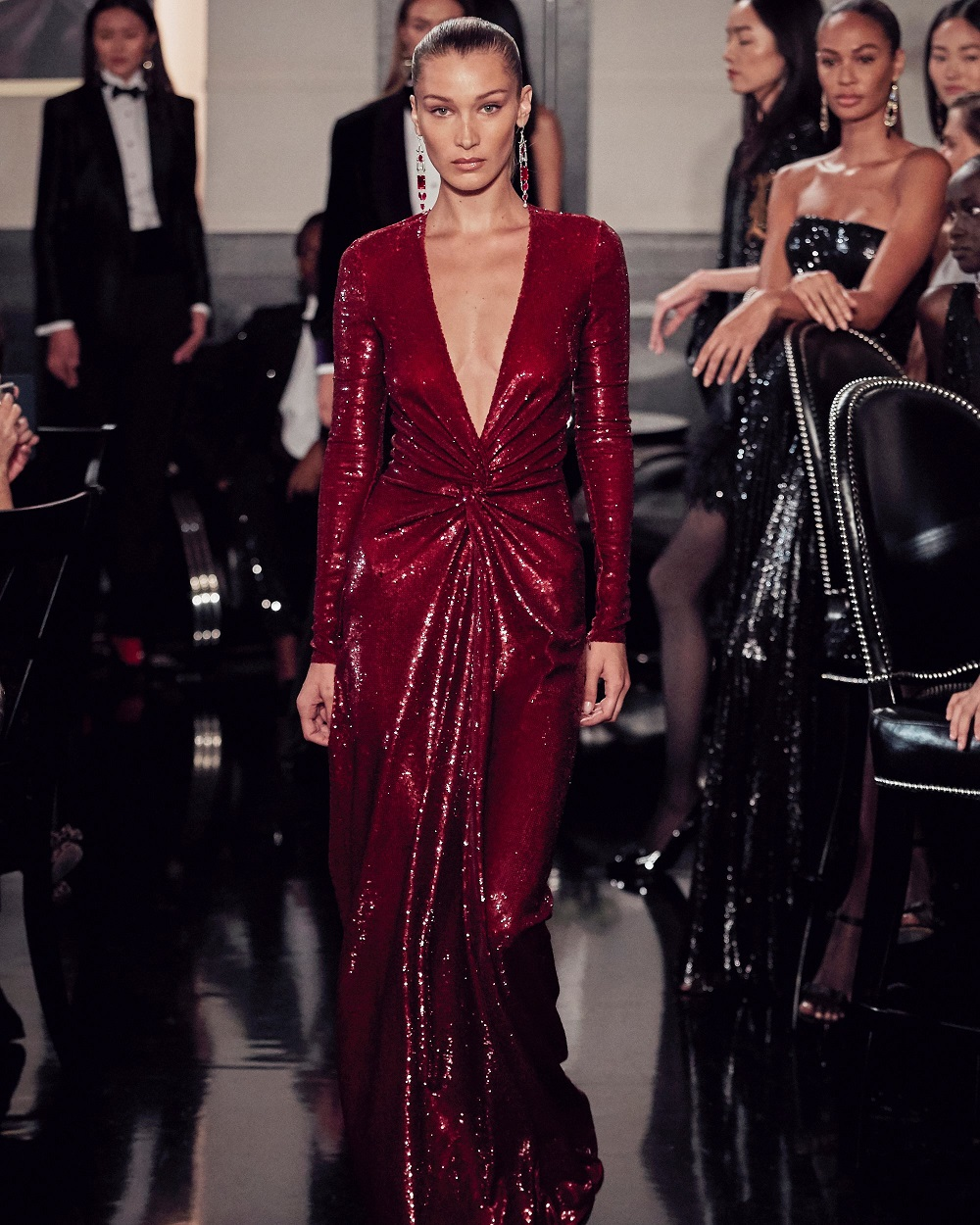 Bella Hadid at #RalphsClub in a Fall 2019 dress with micro-crystals and a bias-twist detail