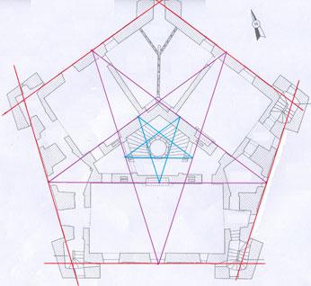Le pentagone du château de Maulnes.