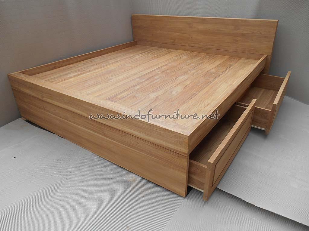model tempat tidur kayu jati 3