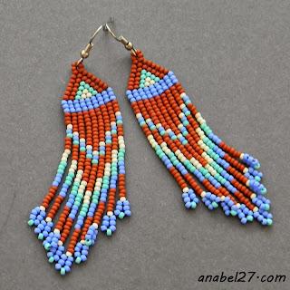Длинные бисерные сережки - украшения ручной работы от Anabel