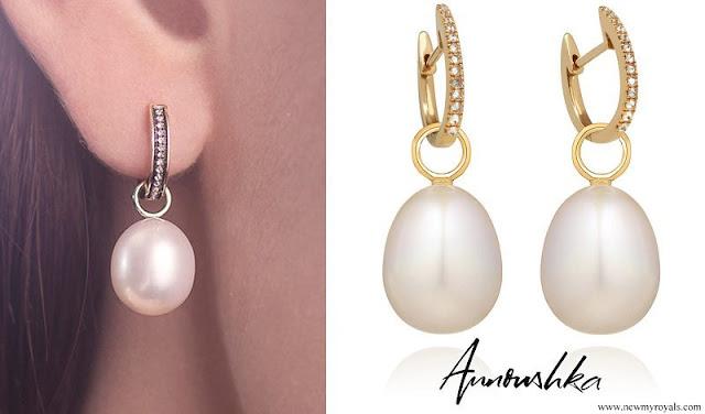 Kate Middleton in Annoushka Pearl and Kiki Diamond Hoop Earrings