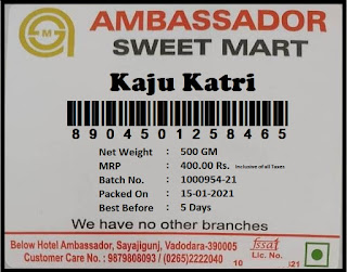 Ambassador Sweets Kaju Katri Label Print Food Packing Label with Nutritional Values, Batch, Expiry Date, Readymade Garments Barcode Lable with Size, Barcode Tag Label for Jewellery Products Ready to Use Free Printing and Designing Software.