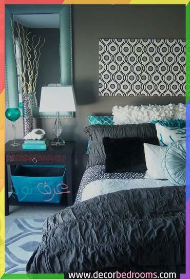 اللون الرمادي الداكن في غرف النوم مع لون تركواز