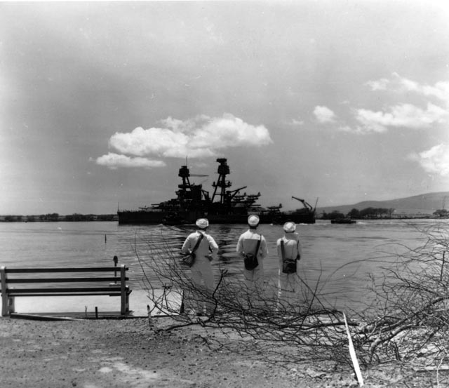 Battleship USS Nevada leaves Pearl Harbor after temporary repairs worldwartwo.filminspector.com