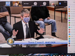 Town Administrator Jamie Hellen with an update during the Town Council meeting