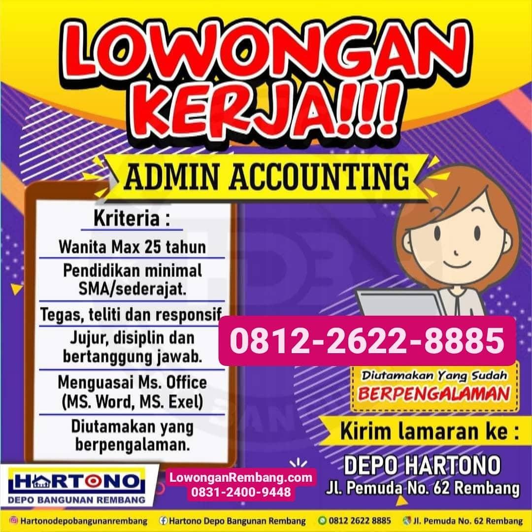 GRATIS Melamar Lowongan Kerja Posisi Admin Accounting Hartono Depo Bangunan Rembang