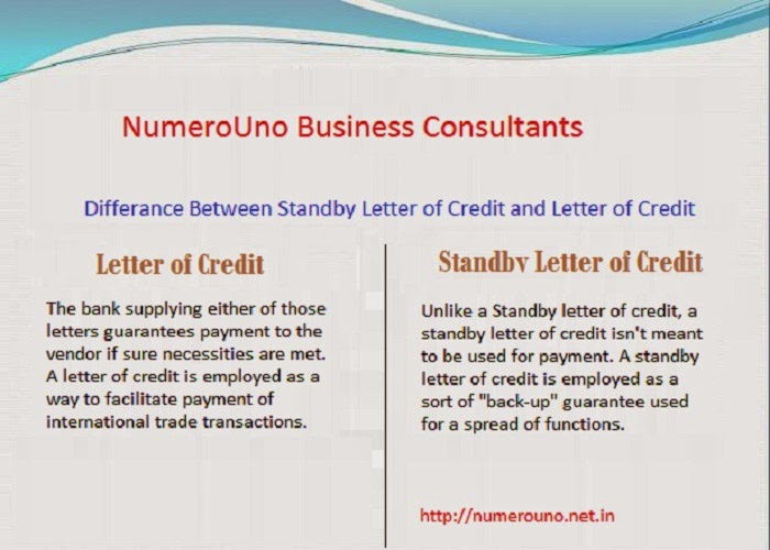 Dissimilarity between Standby Letter of Credit and Letter of