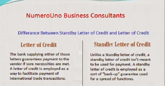 Dissimilarity between Standby Letter of Credit and Letter of Credit