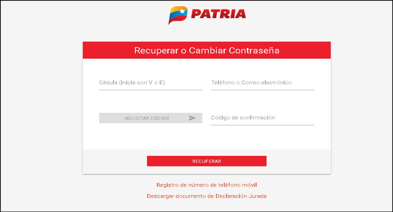 Recuperar o Cambiar Contraseña PATRIA DE SISTEMA DE BONOS, Registro de número de teléfono móvil
