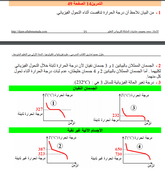 حل تمرين 14 صفحة 49 فيزياء للسنة الأولى متوسط الجيل الثاني