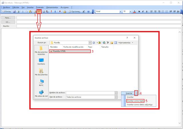 Microsoft Outlook 2003 insertar plantilla HTML como texto