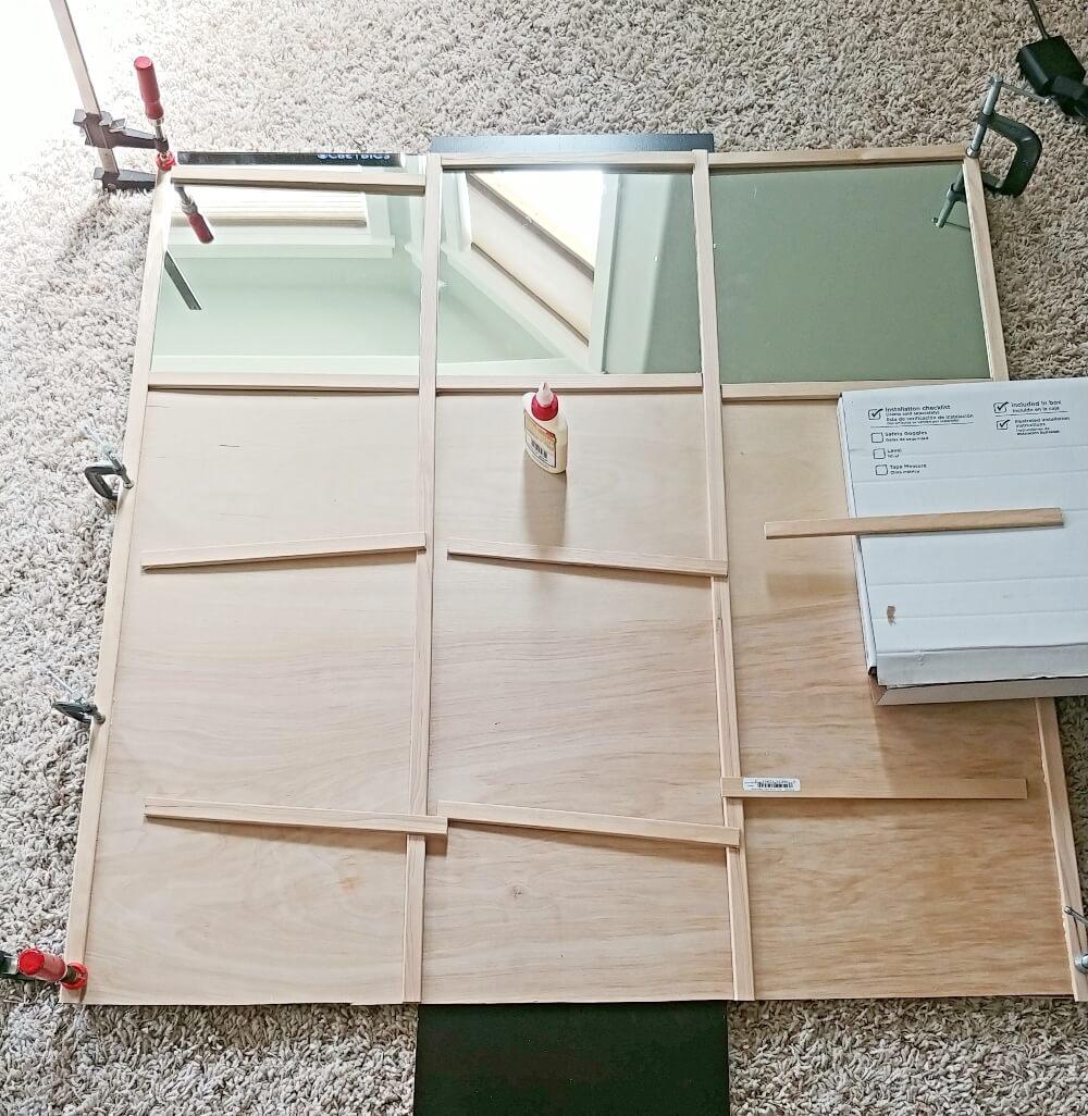 DIY Grid Style Home Gym Mirror