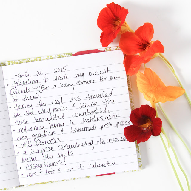 savor summer, joy list monday, #ssjuly2015, Anne Butera, Nasturtiums, My Giant Strawberry, gratitude list