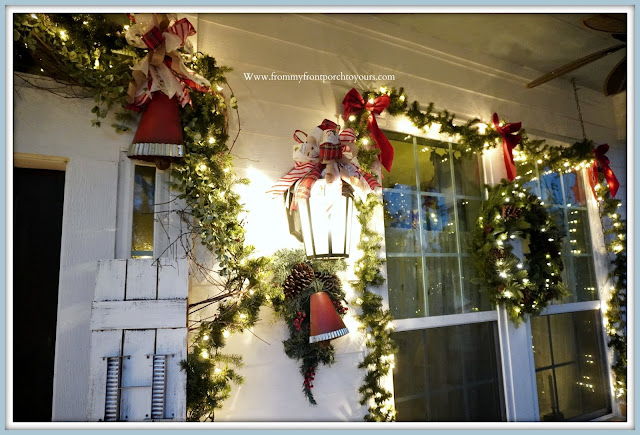Cottage- Farmhouse -Christmas- Porch-Christmas-DIY-Bows-Lights-jingle-Bells -From My Front Porch To Yours