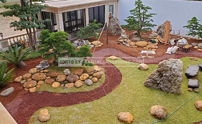inspirasi taman dengan batu kali kuning