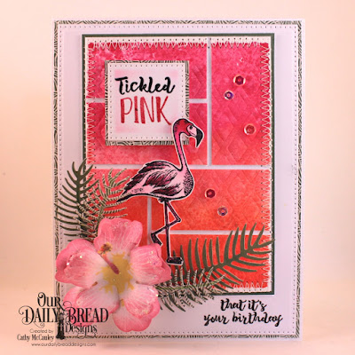 Our Daily Bread Designs Stamp Set: Tickled Pink, Paper Collections: Beautiful Boho, Boho Bolds, Custom Dies: Flamingo, Hibiscus, Ferns, Pierced Squares, Pierced Rectangles, Lattice Background