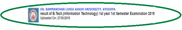 Avadh University B.Tech IT 1st Year 1st Sem Result 2019