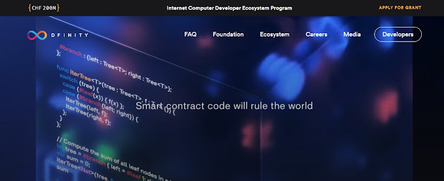 Screenshot Website Dfinity Perusahaan Pengelola  Internet Computer (ICP) Cryptocurrency