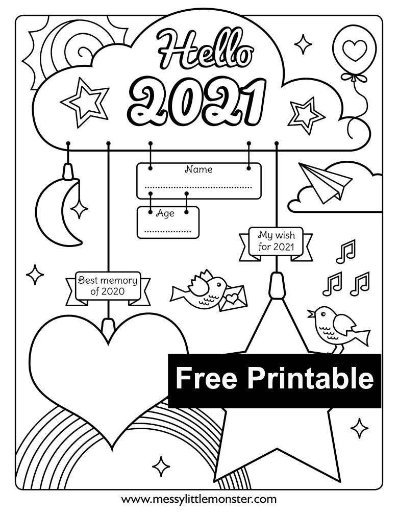 Happy New Year Coloring Printable