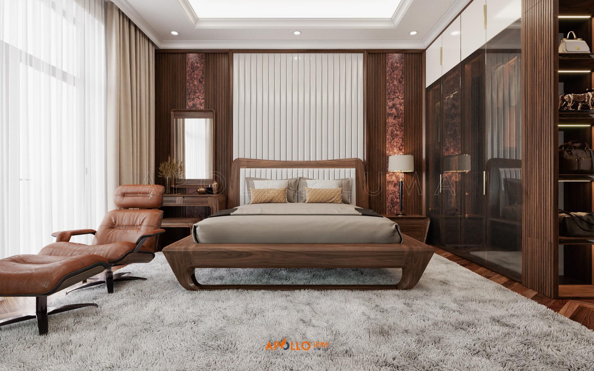 Giường ngủ gỗ Tần bì đẹp - Apollo TB02