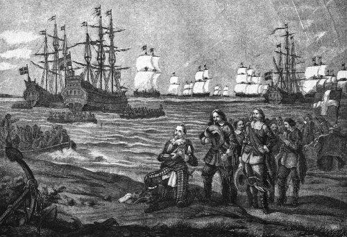 Gustavus Adolphus landing in Pomerania, near Wolgast, 1630
