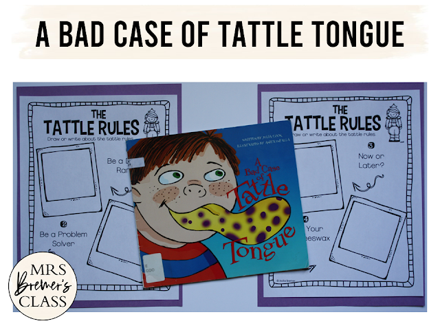 A Bad Case of Tattle Tongue book study companion activities for back to school K-1