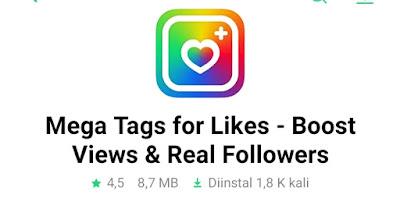 Aplikasi penambah like Instagram Gratis Mega Tag For like