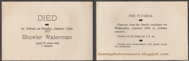 Family Photo Reunion: Funeral Card Friday: Death Announcement for ...