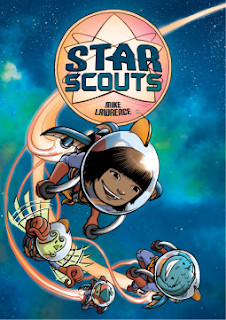Book cover, 'Star Scouts' by Mike Lawrence. Image depicts human girl Avani, blue-finned alien Mabel and a couple other members of their 'Star Scouts' troop, rocketing through a blue-green sky wearing bubble helmets and space suits