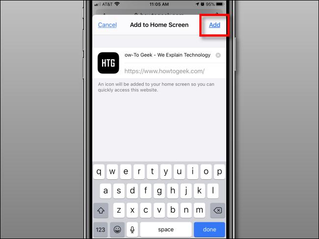 انقر فوق إضافة لإضافة رمز إلى الشاشة الرئيسية على iPhone
